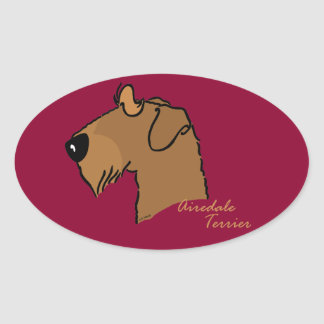Airedale Terrier head silhouette Oval Sticker