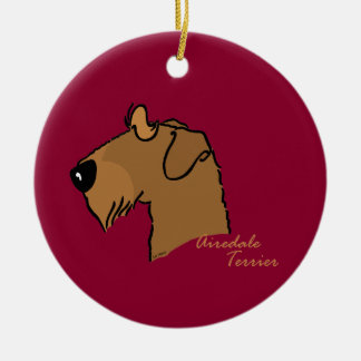 Airedale Terrier head silhouette Round Ceramic Ornament