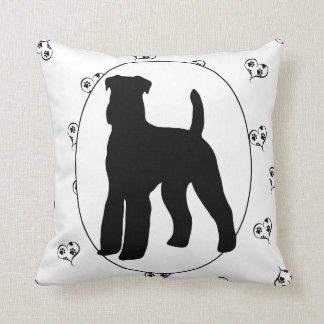 Airedale Terrier Hearts and Pawprints Throw Pillow