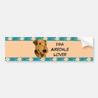 Airedale Terrier - I'ma Airedale Lover Floral Bumper Sticker