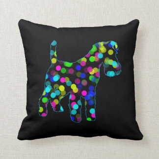 Airedale Terrier in Neon Dots Throw Pillow