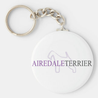 Airedale Terrier Inked Basic Round Button Keychain