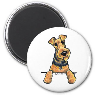 Airedale Terrier Line Art 2 Inch Round Magnet