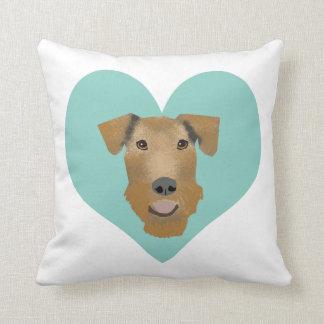 Airedale Terrier Love heart pillow - dog pillow