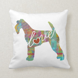 Airedale Terrier Love (Watercolor) Throw Pillow