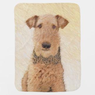 Airedale Terrier Painting - Cute Original Art Baby Blanket