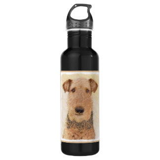 Airedale Terrier Painting - Cute Original Dog Art 710 Ml Water Bottle