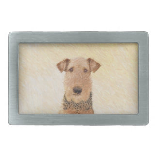Airedale Terrier Painting - Cute Original Dog Art Belt Buckles