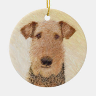 Airedale Terrier Painting - Cute Original Dog Art Ceramic Ornament
