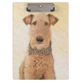 Airedale Terrier Painting - Cute Original Dog Art Clipboard