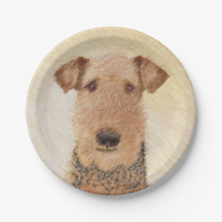 Airedale Terrier Painting - Cute Original Dog Art Paper Plate