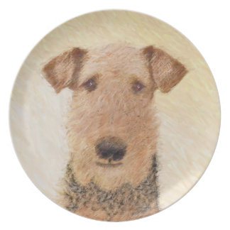Airedale Terrier Painting - Cute Original Dog Art Plate