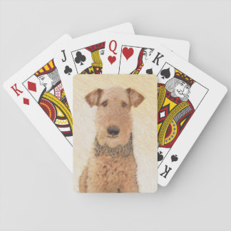 Airedale Terrier Painting - Cute Original Dog Art Playing Cards