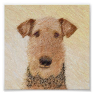 Airedale Terrier Painting - Cute Original Dog Art Poster