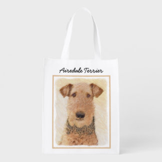 Airedale Terrier Painting - Cute Original Dog Art Reusable Grocery Bag