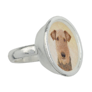 Airedale Terrier Painting - Cute Original Dog Art Ring