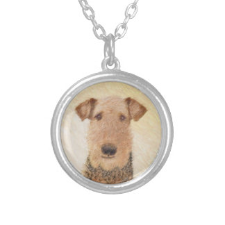Airedale Terrier Painting - Cute Original Dog Art Silver Plated Necklace