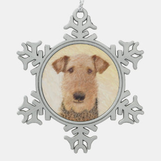 Airedale Terrier Painting - Cute Original Dog Art Snowflake Pewter Christmas Ornament