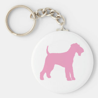 Airedale Terrier (pink) Basic Round Button Keychain