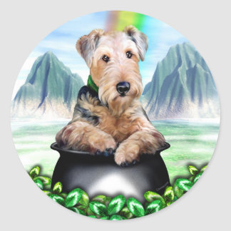 Airedale Terrier Pot of Gold Classic Round Sticker