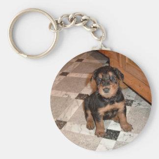 Airedale Terrier Puppy Basic Round Button Keychain
