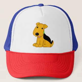 Airedale Terrier Puppy Cartoon Trucker Hat