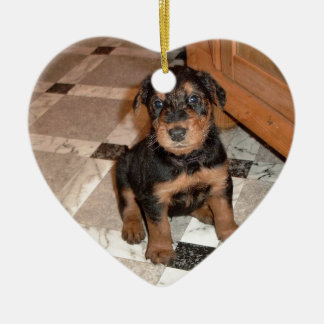 Airedale Terrier Puppy Ceramic Heart Ornament
