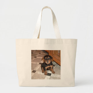 Airedale Terrier Puppy Large Tote Bag