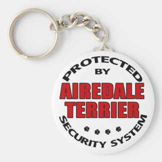 Airedale Terrier Security Basic Round Button Keychain