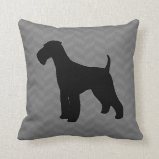 Airedale Terrier Silhouette Throw Pillow