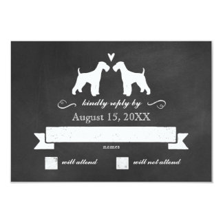 Airedale Terrier Silhouettes Wedding RSVP Response Card