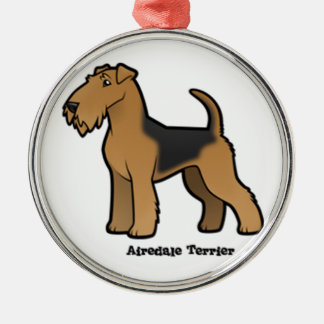 airedale terrier Silver-Colored round ornament