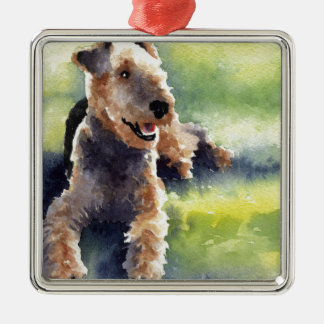 Airedale Terrier Silver-Colored Square Ornament