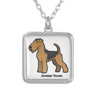 airedale terrier silver plated necklace