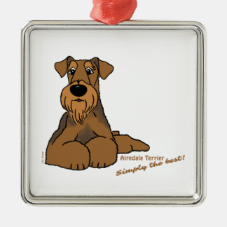Airedale Terrier - Simply the best! Silver-Colored Square Ornament