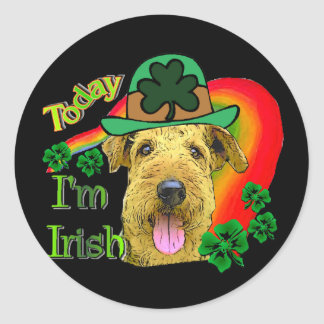 Airedale Terrier St Patricks Classic Round Sticker