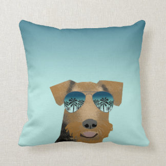 Airedale Terrier sunglasses tropical summer dog Throw Pillow
