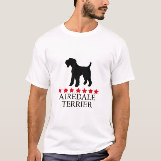 Airedale Terrier T-shirt with Red Stars