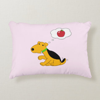 Airedale Terrier Thinking of Apple Lumbar Pillow
