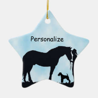 Airedale Terrier Western Silhouette Ceramic Ornament