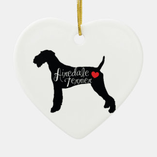 Airedale Terrier with Heart Dog Breed Love Ceramic Heart Ornament