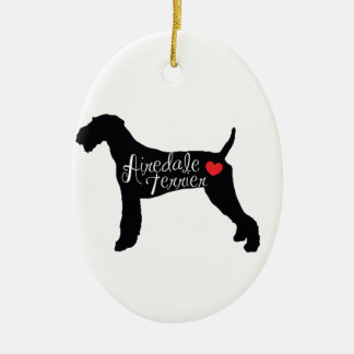 Airedale Terrier with Heart Dog Breed Love Ceramic Oval Ornament