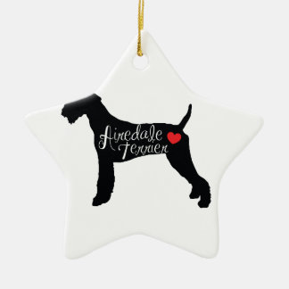 Airedale Terrier with Heart Dog Breed Love Ceramic Star Ornament