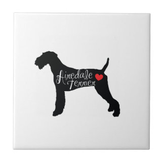 Airedale Terrier with Heart Dog Breed Love Ceramic Tile