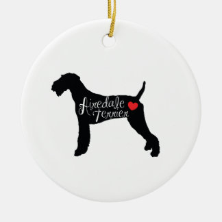 Airedale Terrier with Heart Dog Breed Love Round Ceramic Ornament