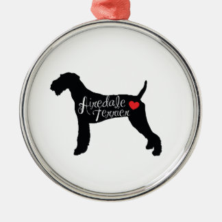 Airedale Terrier with Heart Dog Breed Love Silver-Colored Round Ornament