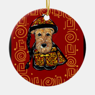 Airedale Terrier Year of the Dog Ceramic Ornament