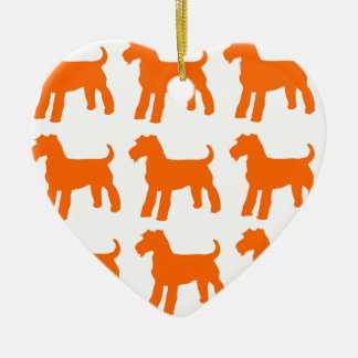 AIREDALE TERRIERS CERAMIC HEART ORNAMENT