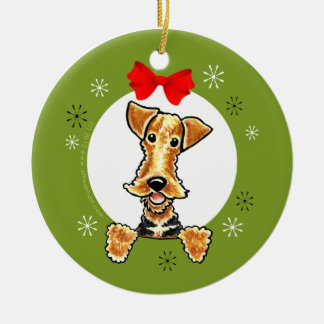 Airedale Welsh Terrier Christmas Classic Round Ceramic Ornament