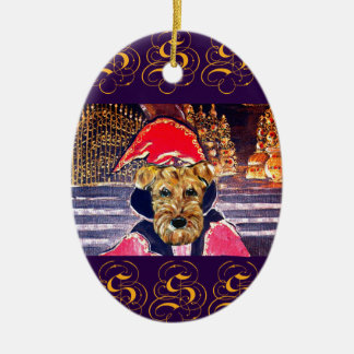 AIREDALE  WIZARD CERAMIC OVAL ORNAMENT